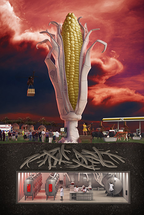 GMO Corn is about the usage of genetically-modified foods in our culture.  It combines CGI and photography to create the final image.