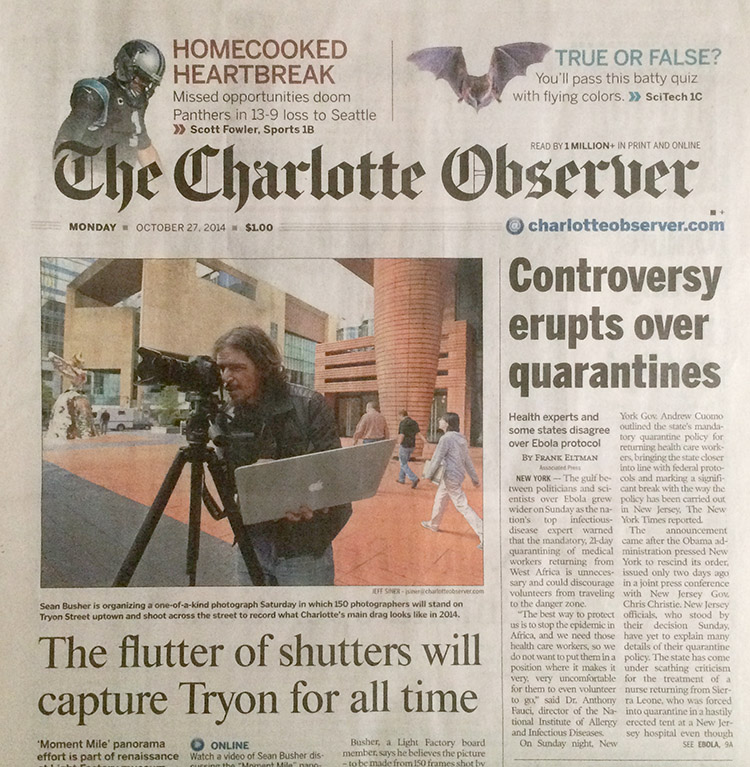 Sean on the front of the Charlotte Observer.