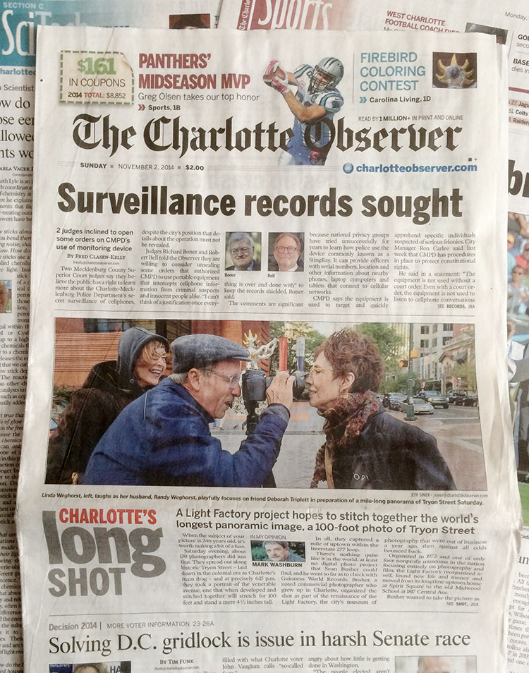 Front Page of The Charlotte Observer features Sean Busher.